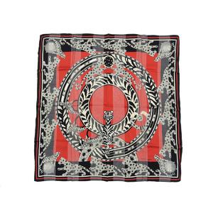 カルティエ(Cartier) Cartier カルティエ 虎柄 タイガー スカーフ シルク100% 赤 レッド 黒 ブラック ショール [20190207]