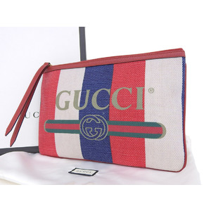 GUCCI Gucci 18 SS Bahia de la stripe second bag logo linen canvas red blue white clutch [20190124]