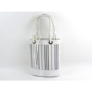 BURBERRY Burberry striped tote bag rope handle canvas leather white [20190124]
