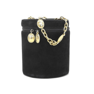 Christian Dior Drum Type Chain Handbag Suede Vintage Black Party Bag [20190130]