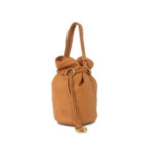 ロエベ(Loewe) LOEWE ロエベ アナグラム 巾着型 ハンドバッグ ヴィンテージ ラムスキン 茶 ブラウン キャメル  [20181123]