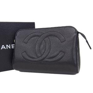 シャネル(Chanel) CHANEL シャネル ココマーク ポーチ ラムスキン 黒 ブラック 小物入れ ケース [20190125]