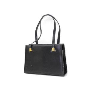 GUCCI Gucci Old Handbag Gauze Vintage Leather Black Gold Hardware [20190205]