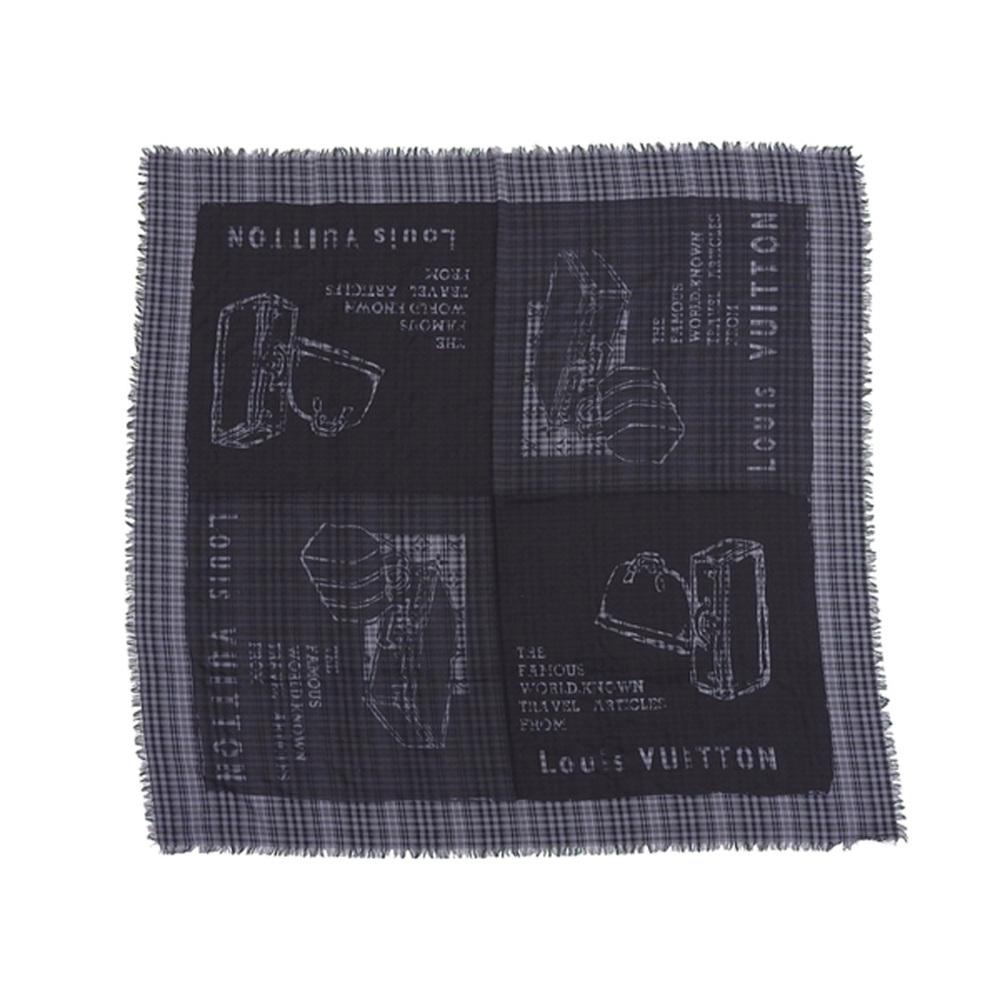 LOUIS VUITTON Louis Vuitton Check Super Large Stole Shawl Muffler Trunk Bag Pattern Black M72924 [20190131]