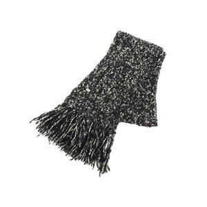 シャネル(Chanel) CHANEL シャネル 09A カシミヤ モヘア マフラー 黒 ブラック アイボリー カシミア [20190131]