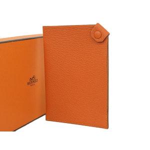 HERMES Hermes Talmac PM Passport Case Schable Orange □ H engraved Tarmac Travel Card [20190207]