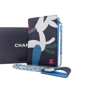 シャネル(Chanel) CHANEL シャネル サテン チェーン カードケース 柄 黒 ブラック 水色 ライトブルー ピンク 財布 パスケース [20190207]