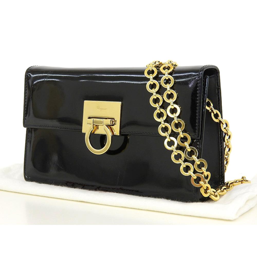 f696f2348e6f Salvatore Ferragamo Gancini Chain Shoulder Bag Enamel Black Pochette Pouch  [20190205]