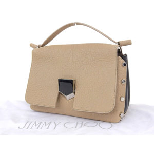 JIMMY CHOO Jimmy Choe Rocket Handbag Studs Leather Bicolor Beige Black [20181123]