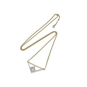 FENDI Fendi F Logo Motif Necklace 90cm Pendant Silver Gold Rhinestone [20190207]