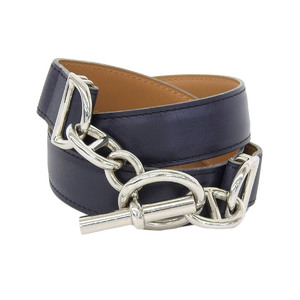 HERMES Hermes Chene Dunkle Leather Belt Ladies Black □ A stamped 75 [20190207]
