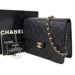 シャネル(Chanel) CHANEL シャネル マトラッセ チェーンショルダーバッグ プッシュロック ラムスキン 黒 ブラック ヴィンテージ 5番台 [20181228]