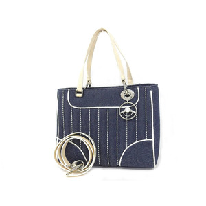 Christian Dior MONTAIGNE CHRIS 1947 2way handbag denim blue ivory shoulder [20190208]