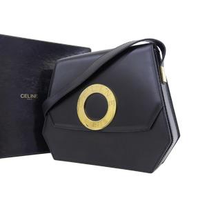 CELINE Celine Circle Logo Vintage Shoulder Bag Leather Black Gold Hardware [20190124]