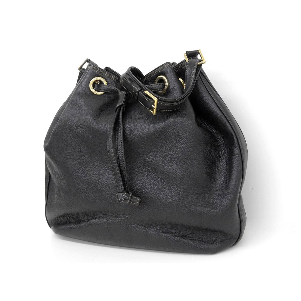 LOEWE Loewe Vintage Drawstring Shoulder Bag Leather Black [20181208]