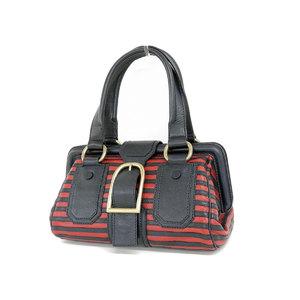 CELINE Celine Border Handbag Vintage Leather Bicolor Navy Blue Red