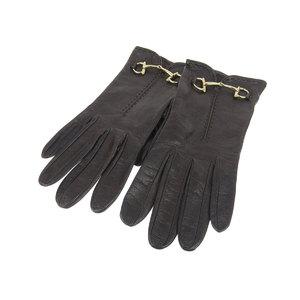 GUCCI Gucci Horsebit Ladies Leather Gloves Brown Dark 7 [20181214]