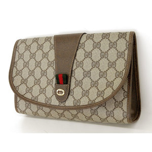 GUCCI Gucci GG second bag vintage clutch PVC leather brown sherry line [20190215]