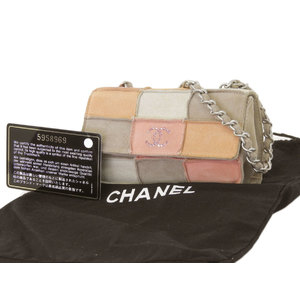 CHANEL Chanel Chocolate bar chain shoulder bag rhinestone coco mark nubuck multi-color pochette [20190215]