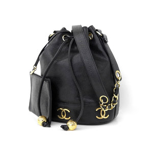 CHANEL Chanel Triple Coco Mark Drawstring Shoulder Bag Caviar Skin Black Vintage 2nd Series [20190213]