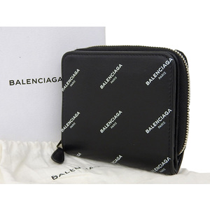 BALENCIAGA Balenciaga Logo Round Zip Compact Wallet Leather Black [20181228]