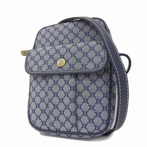 CELINE Celine Macadam Patterned Shoulder Bag Canvas Leather Blue Vintage Pochette [20181228]