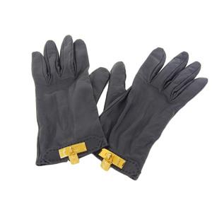 HERMES Hermes Soya Kerry Cadena Leather Gloves Black [20181214]
