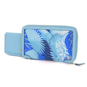 HERMES SOWA COOL round zipper long wallet Vaux Epson silk light blue atore T [20190208]