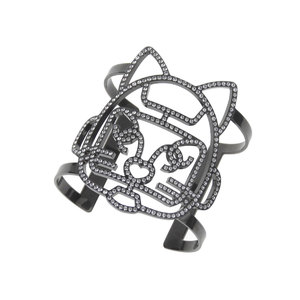 シャネル(Chanel) CHANEL シャネル 17S シュペット キャットロボット バングル ラインストーン 黒 ブラック ブレスレット 猫 ネコ [20190215]