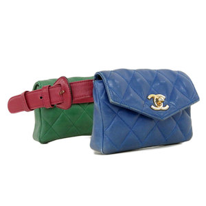 CHANEL Chanel Matrasse West Pouch 2 pieces set Lambskin Red Green Blue Bag 70 [20181220]