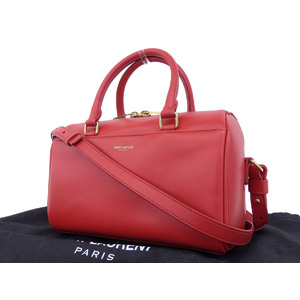Saint Laurent Baby Duffel 2way handbag leather red shoulder mini boston [20181130]