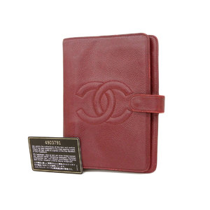 CHANEL Chanel coco mark notebook cover caviar skin red Bordeaux agenda 4th stand [20190121]