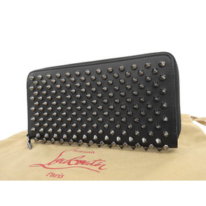 christian Louboutin Christian Panettone round zip wallet Spike studs black used [20190308]