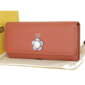 FENDI FIORE METAL Flower Motif Long wallet leather red series [20181220]