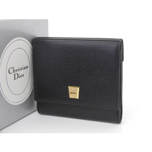 Christian Dior Leather Compact Bi-fold Wallet Vintage Black [20190215]
