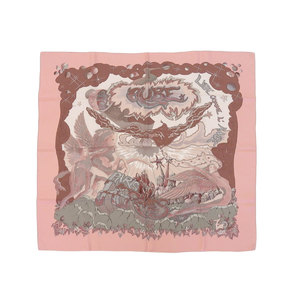 HERMES Hermes Alfie 25th Anniversary Calle 90 THE ALFEE AUBE Dawn Large format scarf Stole silk pink used [20190222]