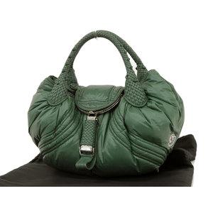FENDI MONCLER collaboration spy bag handbag nylon leather green tote Moncler used [20190308]