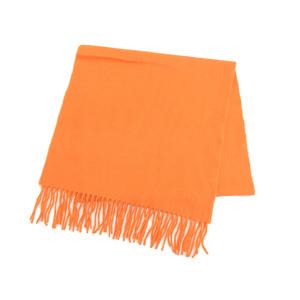HERMES Hermes 100% cashmere scarf orange fringe shawl [20190208]