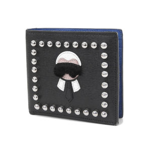 FENDI Fendi Karl Lagerfeld Carrit Two-fold wallet Black Monster Studs [20181208]
