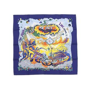 エルメス(Hermes) HERMES エルメス 限定 アルフィーコラボ THE ALFEE AUBE オーブ 大判スカーフ カレ90 青 ブルー シルク [20181214]