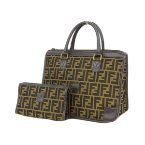 FENDI Fendi Zucca Handbag Vintage Leather Canvas Brown [20190215]