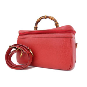GUCCI Gucci Bamboo 2way Handbags Vanity Pigskin Red Shoulder Case Vintage [20181214]