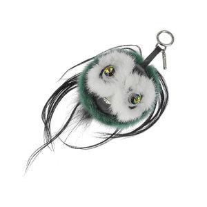 FENDI Fendi Bag Bugs Couribly Charm Key Holder Monster Mink Fur Green Used [20190222]