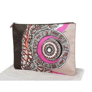 EMILIO PUCCI Emilio Pucci All Pattern Clutch Bag Canvas Black Purple Second Pouch [20190225]