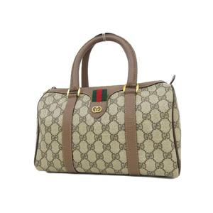 GUCCI Gucci GG Handbags Sherry Line PVC Leather Brown Mini Boston Used [20190308]