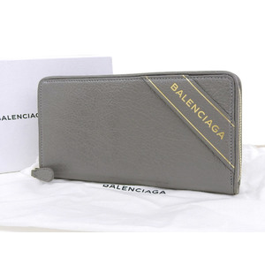 BALENCIAGA Balenciaga Blanket ARENA round fastener wallet leather gray used [20190313]