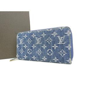 LOUIS VUITTON Louis Vuitton Zippy wallet round zipper long monogram denim blue M95341 used [20190308]