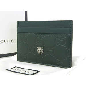 GUCCI Gucci Guccisima Tiger Netital Detail Card Case Business Holder GG Green 428542 [20181214]