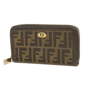 FENDI Fendi Zucca pattern round zipper wallet canvas leather brown used [20190222]