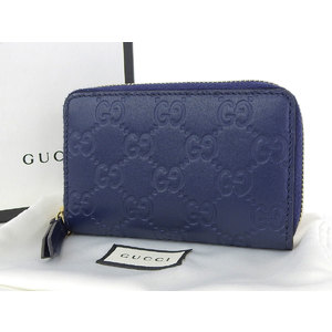 GUCCI Gucci Shima leather coin case round fastener purse 紺 navy wallet 447939 [20161214]